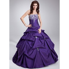Ball-Gown Strapless Floor-Length Taffeta Quinceanera Dress With Ruffle Beading Appliques Lace Sequins