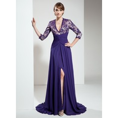 A-Line/Princess V-neck Sweep Train Chiffon Lace Mother of the Bride Dress With Ruffle Beading Split Front