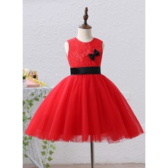 Ball Gown Knee-length Flower Girl Dress - Satin/Tulle/Lace Sleeveless Jewel With Bow(s)