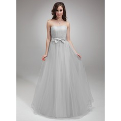 A-Line/Princess Sweetheart Floor-Length Tulle Homecoming Dress With Ruffle Bow(s)