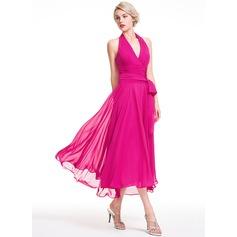 A-Line/Princess Halter Asymmetrical Chiffon Bridesmaid Dress With Ruffle Bow(s)