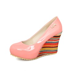 Patent Leather Wedge Heel Pumps Closed Toe Wedges shoes