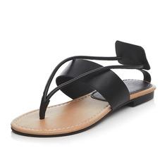 Women's Real Leather Flat Heel Sandals Flip-Flops shoes