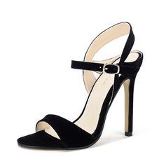 Women's Suede Stiletto Heel Sandals Peep Toe Slingbacks With Buckle shoes