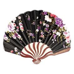 Floral Design Bamboo/Silk Hand fan (Set of 4)