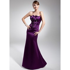 Trumpet/Mermaid Strapless Floor-Length Satin Evening Dress With Beading