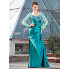 Etui-Linie Off-the-Schulter Sweep/Pinsel zug Charmeuse Kleid für die Brautmutter mit Rüschen Perlen verziert Pailletten