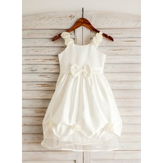 A-Line/Princess Tea-length Flower Girl Dress - Organza/Tribute silk Sleeveless Straps With Sash/Flower(s)/Bow(s)