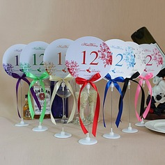 Personalized Flower Design Paper Table Number Cards With Holder With Ribbons