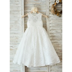 A-Line/Princess Floor-length Flower Girl Dress - Tulle/Lace Sleeveless Scoop Neck With Back Hole (010090578)