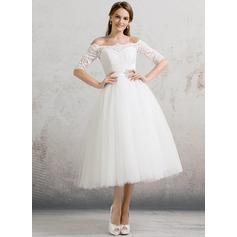 Ball-Gown Off-the-Shoulder Tea-Length Tulle Wedding Dress With Beading Sequins