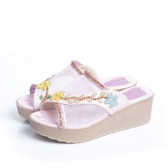 Women's Leatherette Wedge Heel Sandals Platform Wedges Flip-Flops With Rhinestone Imitation Pearl shoes