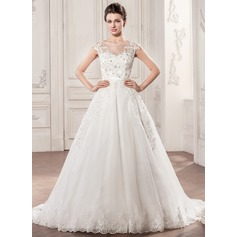 Ball-Gown Scoop Neck Chapel Train Tulle Wedding Dress With Beading Appliques Lace Sequins Bow(s)