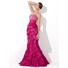 Trumpet/Mermaid Sweetheart Floor-Length Taffeta Prom Dress With Beading Sequins Pleated