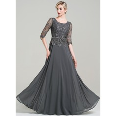 A-Line/Princess Scoop Neck Floor-Length Chiffon Mother of the Bride Dress With Beading Sequins (008085303)