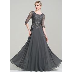 Corte A/Princesa Escote redondo Hasta el suelo Chifón Vestido de madrina con Cuentas Lentejuelas (008085303)