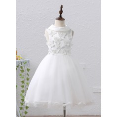 A-Line/Princess Tea-length Flower Girl Dress - Tulle Sleeveless Stand Collar With Beading/Appliques/Bow(s)