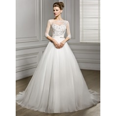 A-Line/Princess Scoop Neck Court Train Tulle Wedding Dress With Beading Appliques Lace Sequins Bow(s)