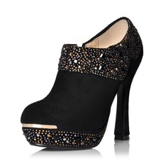 Real Leather Chunky Heel Platform Ankle Boots With Rhinestone shoes