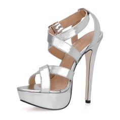 Patent Leather Stiletto Heel Platform Slingbacks Sandals With Buckle