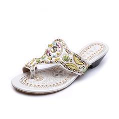 Couro Salto baixo Sandálias Chinelos com Bordado sapatos