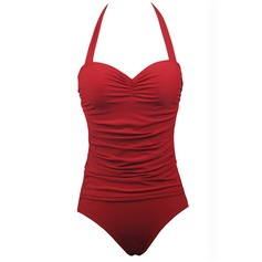 Elegant Solid Color Dot One-piece (202084391)