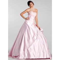 Corte de baile Escote corazón Cola corte Satén Vestido de novia con Bordado Volantes Bordado Lentejuelas
