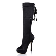 Suede Stiletto Heel Pumps Platform Knee High Boots With Lace-up shoes