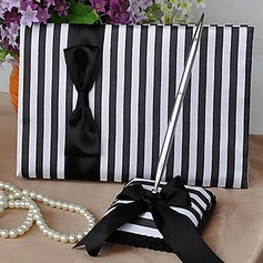 Classic Black & White Satin Bow/Sash Guestbook/Pen Set
