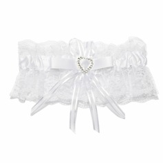 Chic Satin Lace With Bowknot Rhinestone Wedding Garters