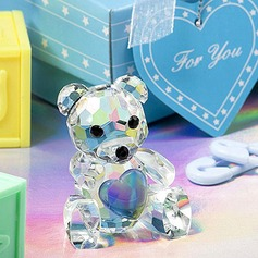 Teddy Bear Crystal Keepsake With Ribbons