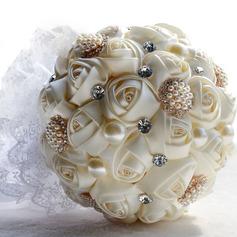 Round Satin Bridesmaid Bouquets