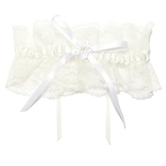 Elegant Lace With Flower/Pearl Wedding Garters