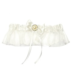 Attractive Satin Organza With Ribbons Rhinestone Beading Wedding Garters
