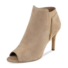 Women's Suede Stiletto Heel Boots Peep Toe Ankle Boots shoes
