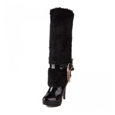 Women's Leatherette Stiletto Heel Pumps Platform Closed Toe Boots Knee High Boots With Rhinestone Fur shoes