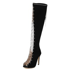 Women's Suede Stiletto Heel Peep Toe Knee High Boots With Chain shoes