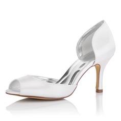 Women's Satin Stiletto Heel Peep Toe Sandals Dyeable Shoes