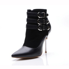 Real Leather Suede Stiletto Heel Pumps Closed Toe Ankle Boots With Buckle Split Joint shoes