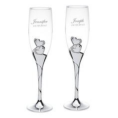 Personalized Double Hearts Stainless Steel Toasting Flutes (Set of 12)