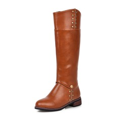 Women's Leatherette Low Heel Closed Toe Mid-Calf Boots With Zipper shoes
