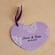 Personalized Leaf Design Paper Invitation Cards With Ribbons