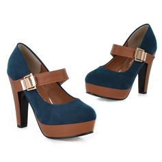Women's Leatherette Chunky Heel Pumps Closed Toe With Buckle Velcro shoes