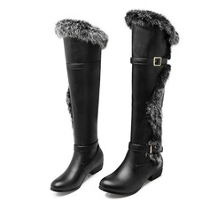 Leatherette Low Heel Over The Knee Boots With Buckle Fur shoes