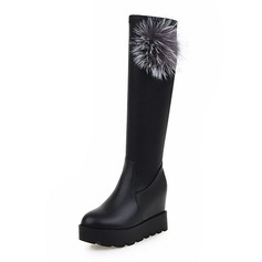 Women's Leatherette Low Heel Over The Knee Boots With Fur shoes