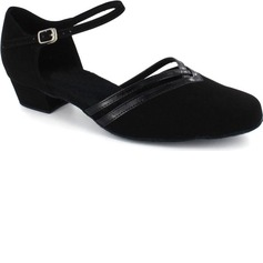 Patent Leather Nubuck Flats Modern Dance Shoes With Ankle Strap