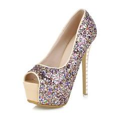 Women's Sparkling Glitter Stiletto Heel Peep Toe Platform