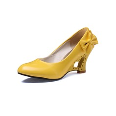 Women's Patent Leather Chunky Heel Pumps Closed Toe With Bowknot shoes (085094846)