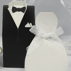 Classic Bride & Groom Favor Box With Organza Ribbon (Set of 6 Pairs) (050005841)