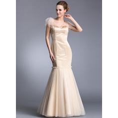 Trumpet/Mermaid V-neck Floor-Length Satin Tulle Evening Dress With Cascading Ruffles